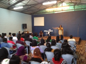 Haseena Sherin to young people in a retreat at the Freedom Chapel